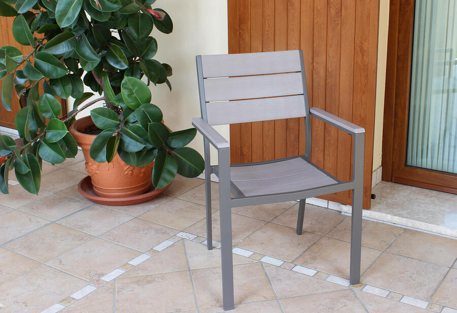 Sedia da giardino impilabile CERVIAS in polywood ed alluminio ANTRACITE