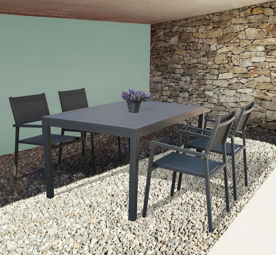 Sedia impilabile da giardino JAMA BRACCIOLI in textilene e alluminio ANTRACITE