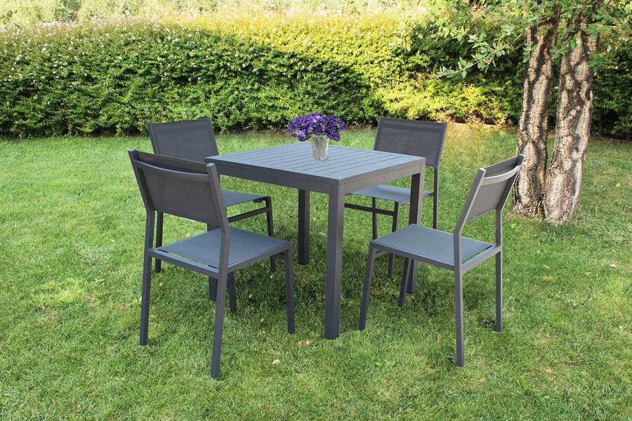 Tavolo da giardino in alluminio CUBANINO misura 80 x 80 colore ANTRACITE