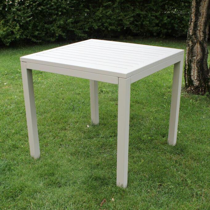 Tavolo da giardino in alluminio CUBANINO misura 80 x 80 colore TORTORA