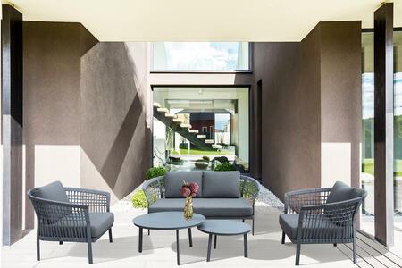 Salotto da giardino in alluminio e corda BERNARDI colore grigio antracite