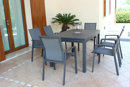 Tavolo da giardino allungabile HAWAII in alluminio ANTRACITE cm 130 / 270 X 90 H 75