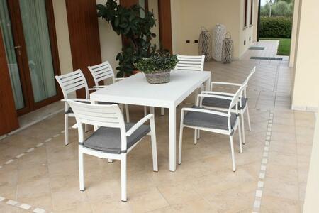 Tavolo da giardino SOAVE in alluminio 150 x 90 colore BIANCO
