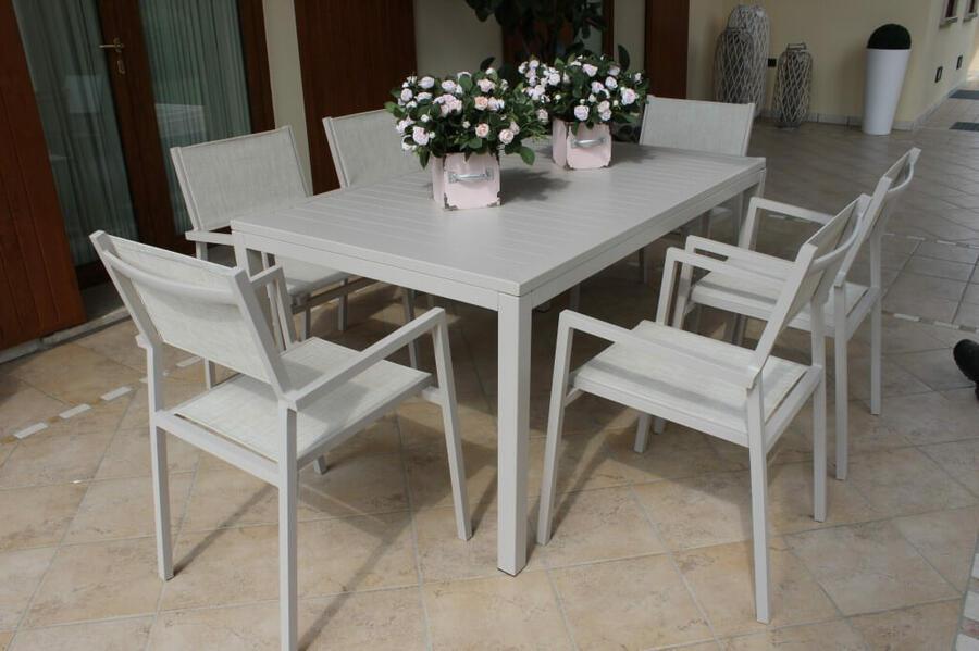 Tavolo da giardino SOAVE in alluminio 150 x 90 colore TORTORA