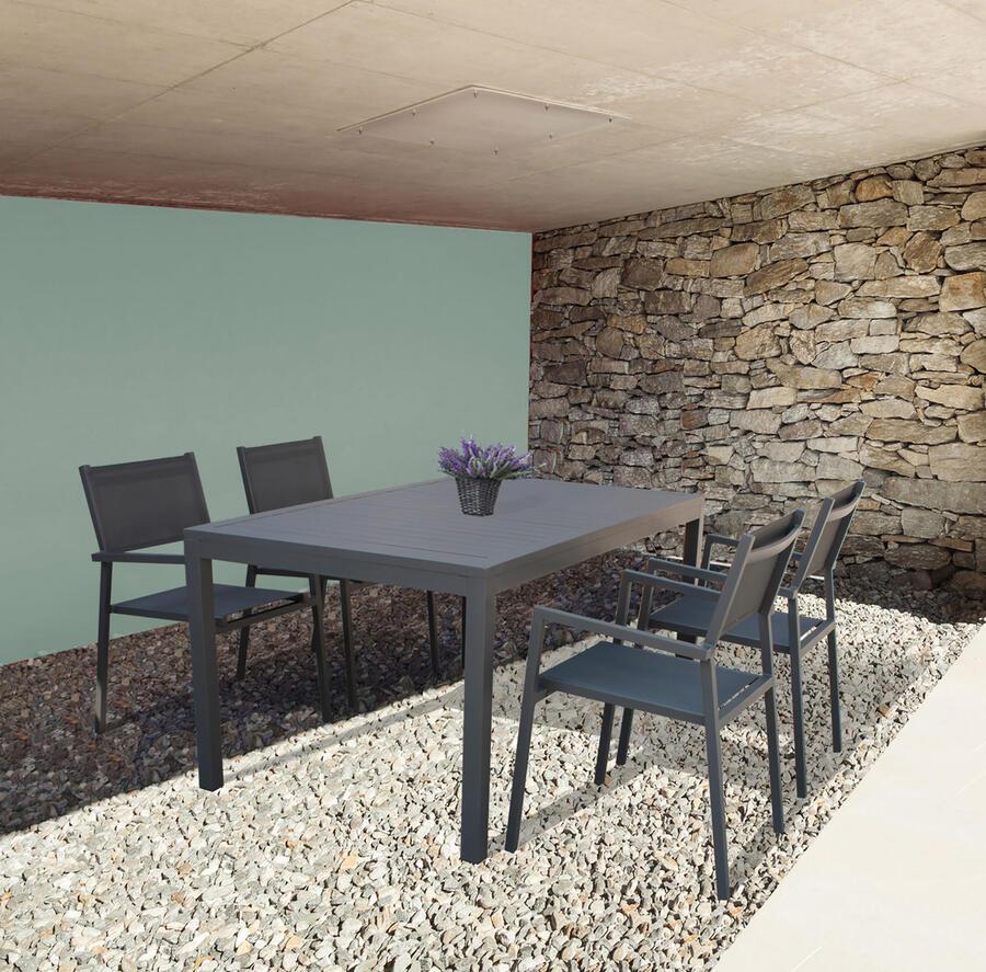 Tavolo da giardino SOAVE in alluminio 150 x 90 colore ANTRACITE