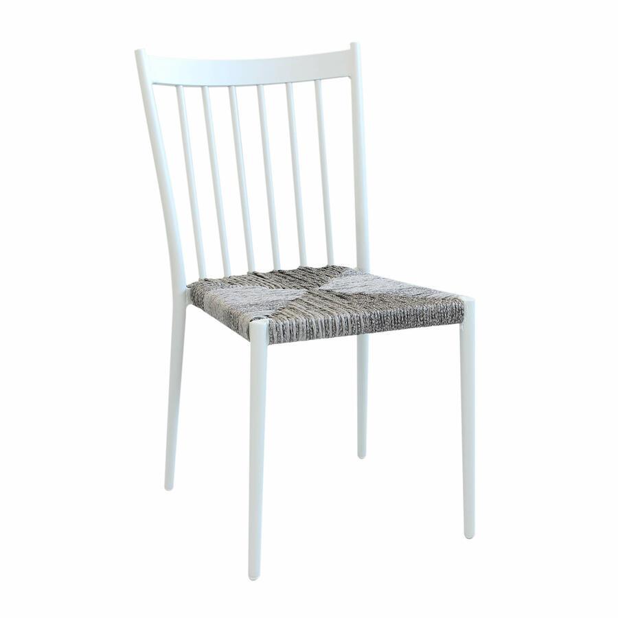 Sedia da giardino in alluminio SAN MARTINO impilabili seduta polyrattan BIANCA