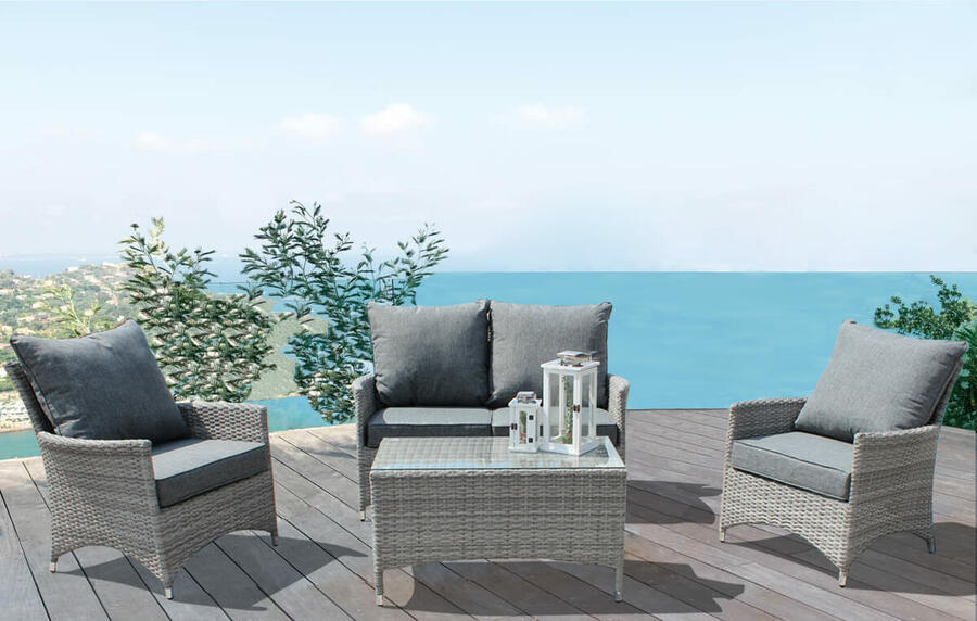Salotto da giardino in alluminio ROVIGO divano 2 posti 2 poltrone in wicker grigio