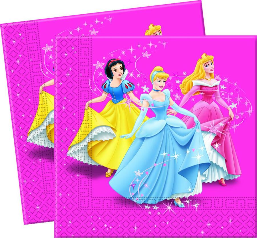 20 TOVAGLIOLI DI CARTA 2 VELI PRINCIPESSE DISNEY DECORATA PARTY