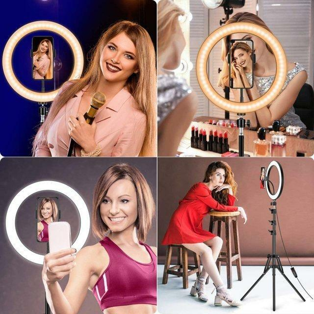Luce ad Anello LED Treppiede, 10 Pollice Selfie Ring Light