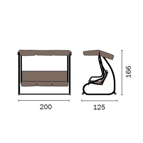 Dondolo massiccio 3 posti reclinabile 200x125x166 telo poliestere grigio struttura metallo bianco ARISTIDE SV118