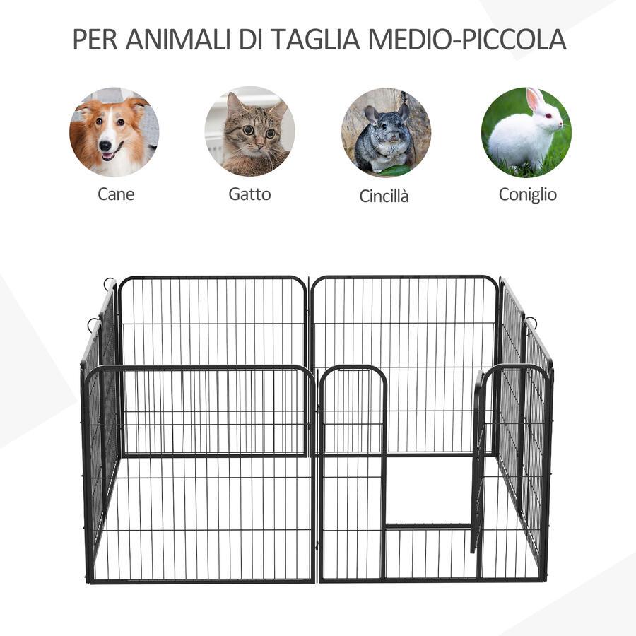 RECINTO O RECINZIONE MODULARE PER ANIMALI CUCCIOLI, CANI, 8PZ, 80X80CM, NERO BY MYGARDEN