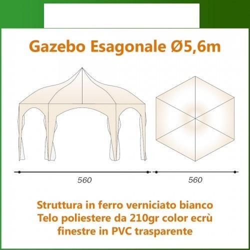 GAZEBO rotondo diametro 5,6 mt ferro PLASTIFICATO completo di TELI LATERALI garage feste pesante