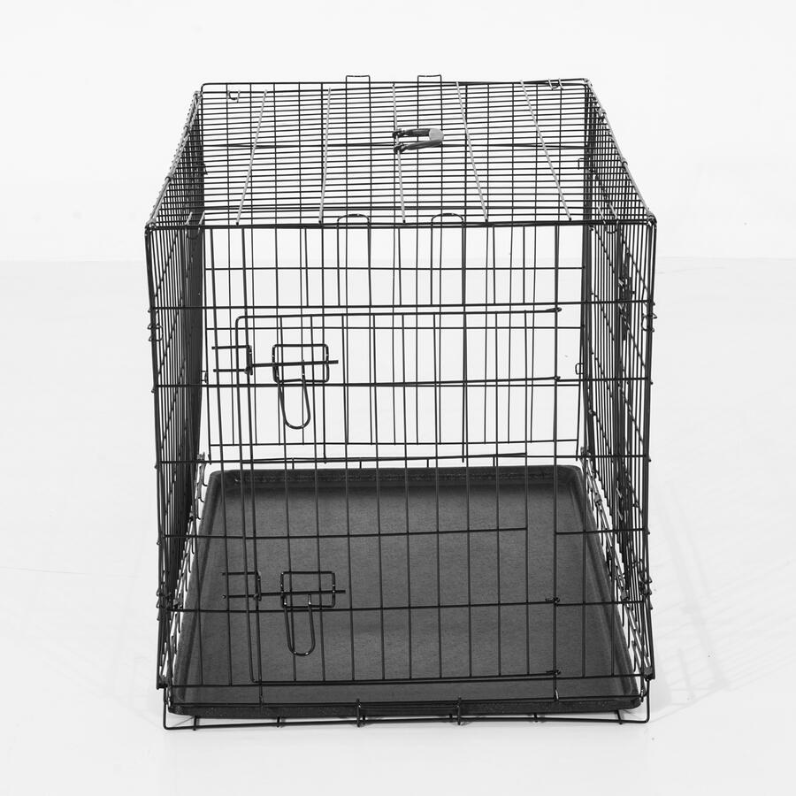 Maxi Gabbia Trasportino in Acciaio per Animali Pieghevole, Nero, 122x77x82cm