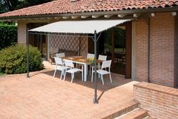 Gazebo pergola a muro PERGOLA43  4x3 giardino terrazza Top Design telo color sabbia gaz 361