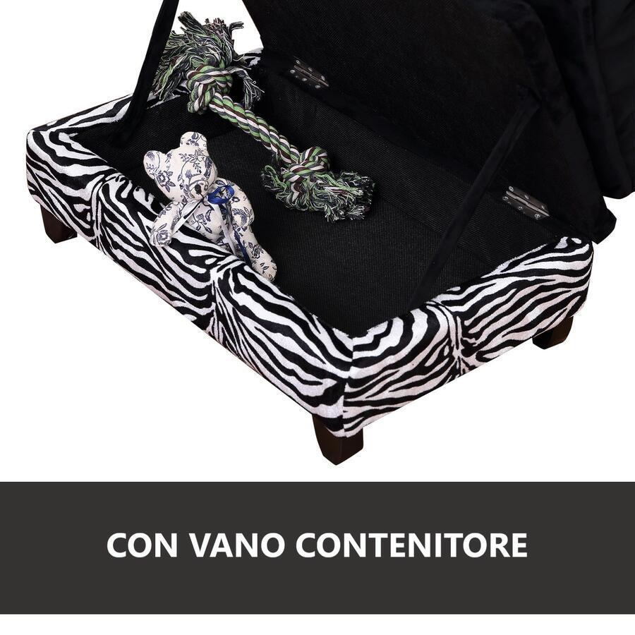 DIVANETTO PER CANI E GATTI CON VANO PORTAOGGETTI, NERO E BIANCO, 57X34X36CM BY MYGARDEN