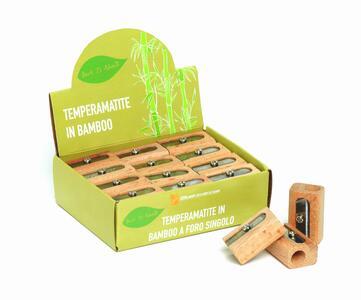 Temperamatite/Appuntalapis in bamboo con foro singolo BACK TO NATURE