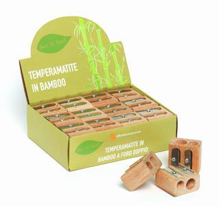 Temperamatite/Appuntalapis in bamboo con foro doppio BACK TO NATURE