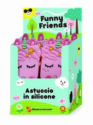 Astuccio FUNNY FRIENDS (Topo-Gatto-Unicorno) in silicone morbidissimo