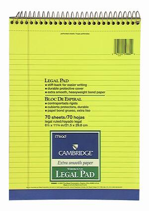 Blocco MEAD appunti LEGAL PAD A4 spiralato