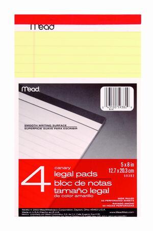 Blocco MEAD appunti LEGAL PAD blister 4 pezzi small
