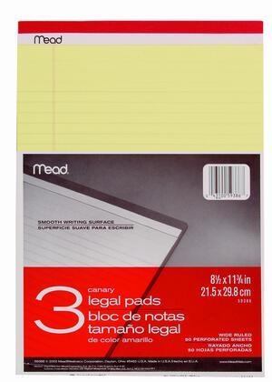 Blocco MEAD appunti LEGAL PAD blister 3 pezzi big
