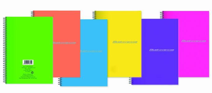 Blocco spiralato copertina in PP FLUO in colori assortiti 18x24