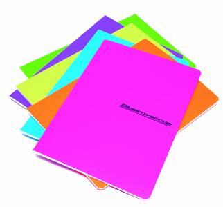 Quaderno spillato copertina in PP FLUO in colori assortiti A4