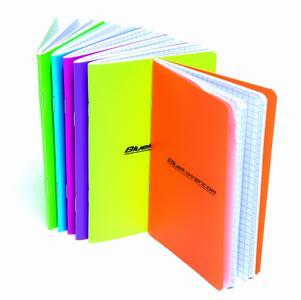 Quaderno spillato copertina in PP FLUO in colori assortiti A7