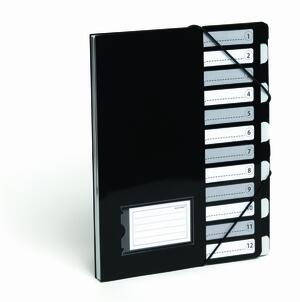 Cartella portadocumenti a 12 tasche con elastico  BLACK & WHITE