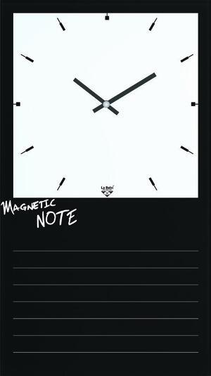 Orologio in vetro magnetico con spazio note 25x45 cm BLACK & WHITE