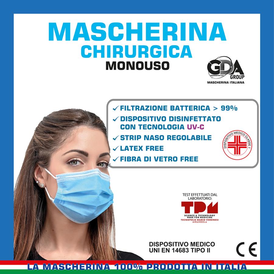MASCHERINA CHIRURGICA MONOUSO CLASSE I TIPO II VARI COLORI CONFEZIONE DA 10 PZ GDA