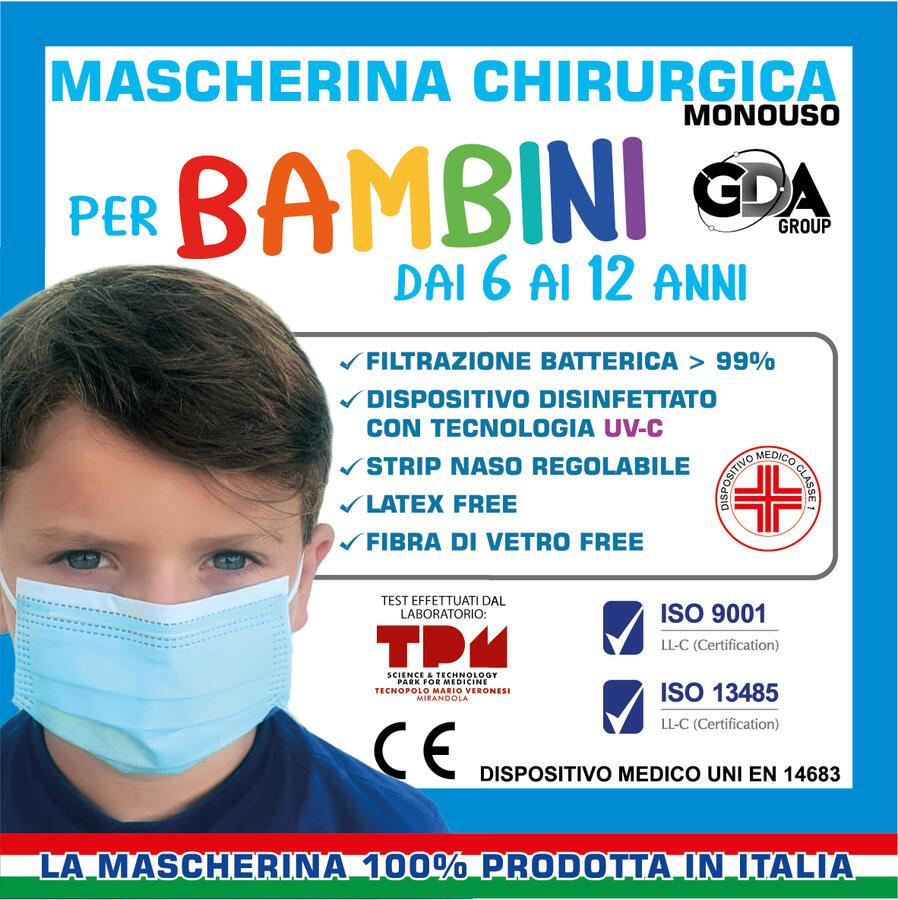 MASCHERINA CHIRURGICA MONOUSO BAMBINI CLASSE I TIPO II SANIFICATE UV CONFEZIONE DA 10 PZ GDA