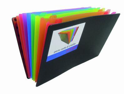 Portadocumenti a soffietto ARCOBALENO con 8 tasche carte di credito