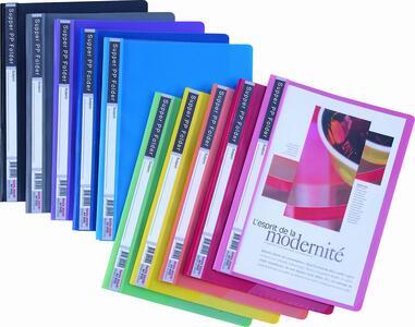 Cartelline con clip a anelli e fronte trasparente in 6 colori. Per presentazioni professionali con passo foratura 8 cm universale.