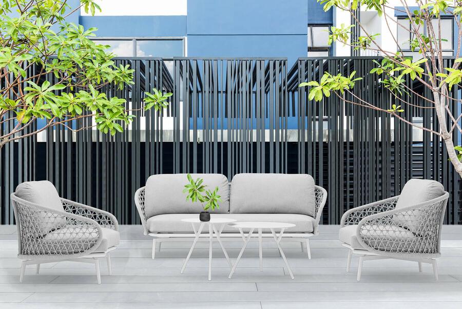 Salotto da giardino in alluminio bianco e corda grigia MONZA divano comodo 2 poltrone e doppio tavolino