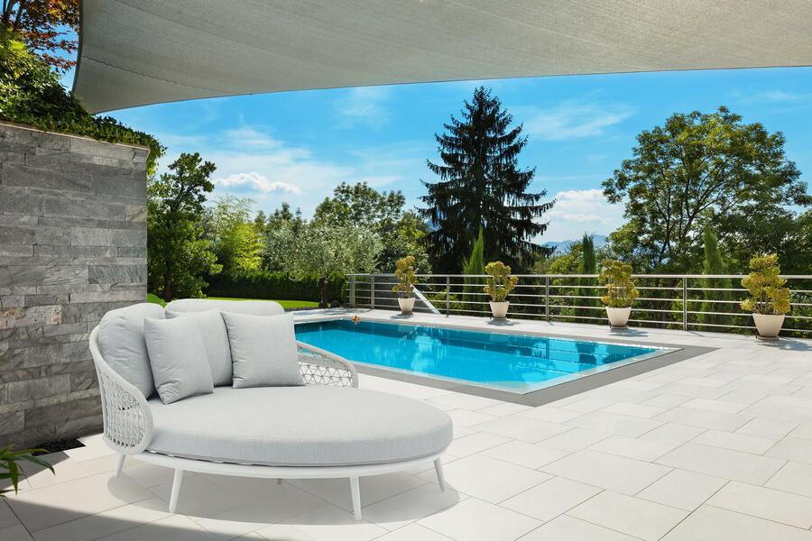 Lettino prendisole divano da giardino in alluminio bianco e corda Grigio Melange MONZA