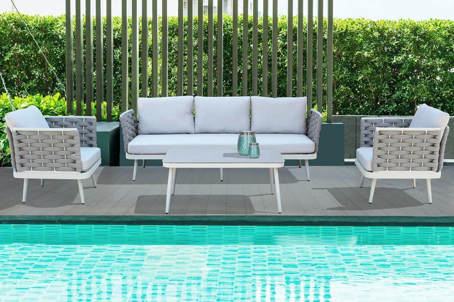 Salotto da giardino in alluminio grigio chiaro e corda SORRENTO BIG con divano 3 posti