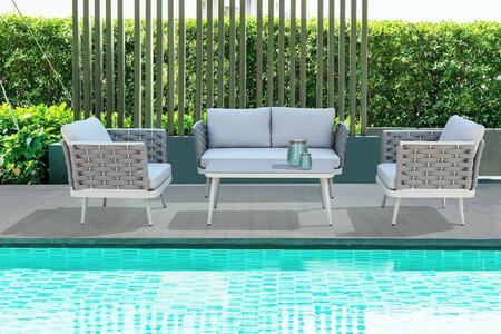 Salotto da giardino in alluminio grigio chiaro e corda SORRENTO MINI con divano 2 posti
