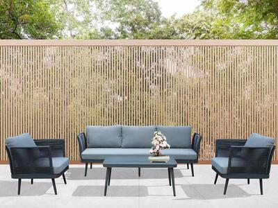 Salotto da giardino in alluminio GRIGIO SCURO e corda PORTO CERVO BIG con divano 3 posti