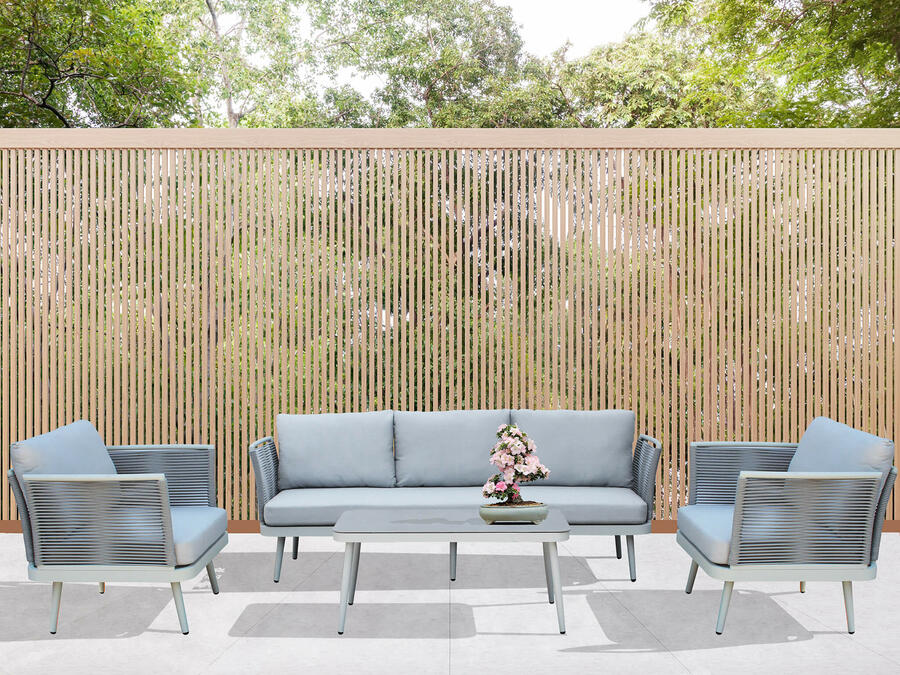 Salotto da giardino in alluminio GRIGIO CHIARO e corda PORTO CERVO BIG con divano 3 posti