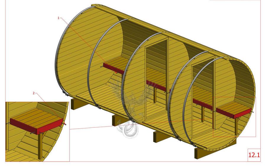 Glamping Sauna Barile in legno di pino nordico Mod. Sara 3,5 m x Ø 2,27 m - 46mm