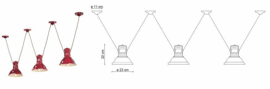 Lampada a Sospensione Multipla Industrial C1692 di Ferroluce in Metallo e Ceramica, Varie Finiture - Offerta di Mondo Luce 24