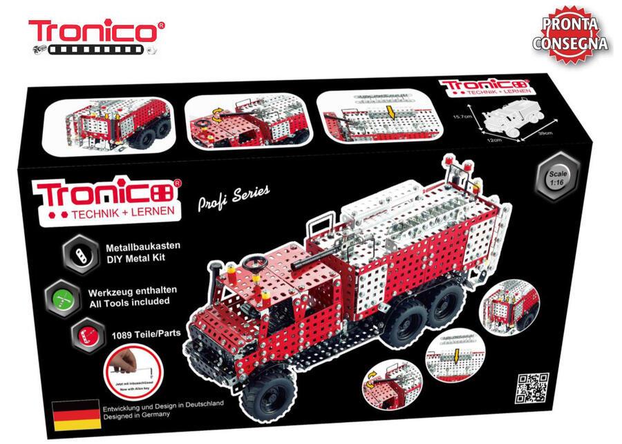 Kit costruzioni in Metallo Camion dei Pompieri Vigili del fuoco tipo MB Unimog BR425 di Tronico