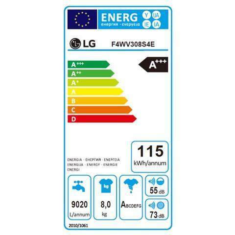 LG Lavatrice Standard F4WV308S4E 6 Motion 8 Kg Classe A+++ -40% Centrifuga 1400 giri