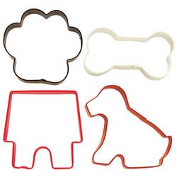 Set 4 cutter tagliabiscotto zampa, osso, casa del cane e il cane Wilton