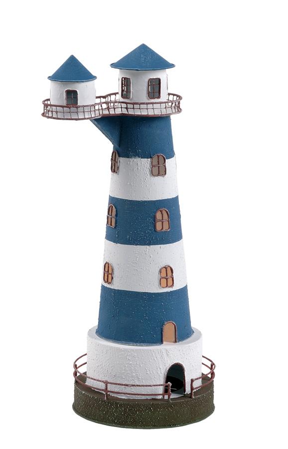Lampada a Forma di Faro Con Doppia Casetta Elevata con Luce ( alto 36 cm. ) di Artesania Esteban - Mondo Nautica 24