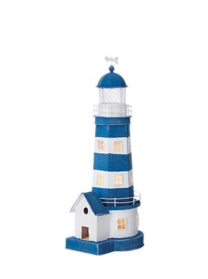 Lampada a Forma di Faro Bianco e Azzurro con Casetta  ( alto 37 cm. ) di Artesania Esteban - Mondo Nautica 24