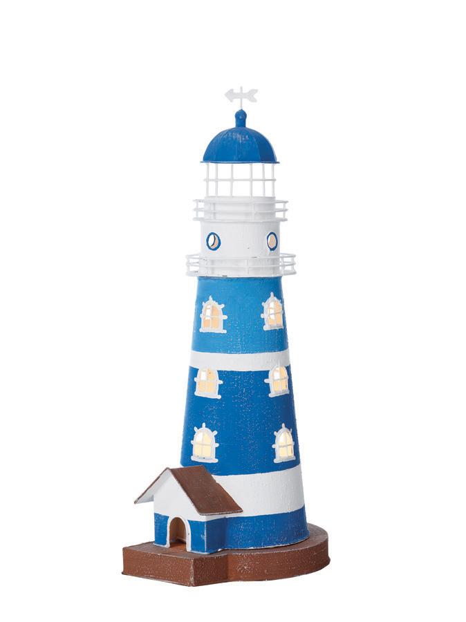 Modello di Faro Luminoso in Acciaio Bianco Blu Azzurro ( alto 47 cm. ) di Artesania Esteban - Mondo Nautica 24