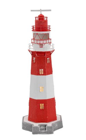 Lampada a Forma di Faro Marino Bianco/Rosso Alto Cm 48 di Artesania Esteban - Offerta di Mondo Nautica 24