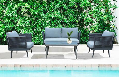 Salotto da giardino in alluminio GRIGIO SCURO e corda PORTO CERVO MINI con divano 2 posti